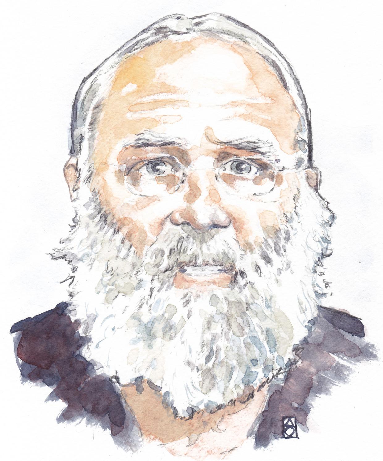 Impressie van de 67-jarige Gerrit Jan van D., de vader die met zes van zijn kinderen in totale afzondering leefde in Ruinerwold.  Beeld ANP