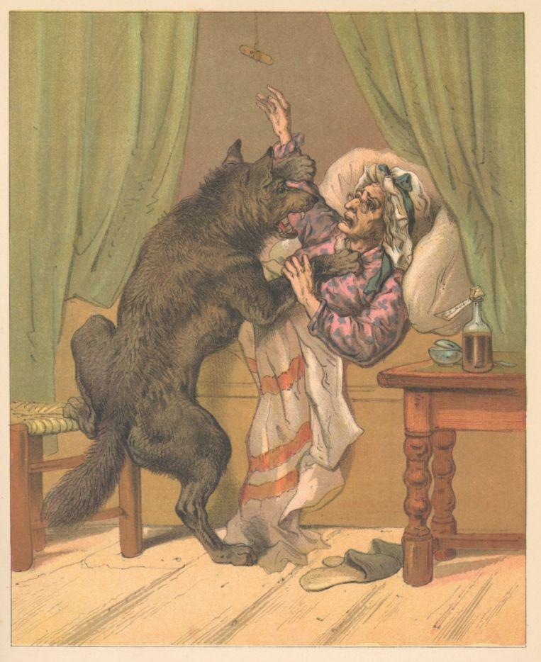 'De geschiedenis van Roodkapje, opnieuw verteld door P. Louwerse.' (ca. 1888).  Beeld