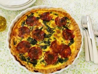 Bak quiche met chorizo en spinazie