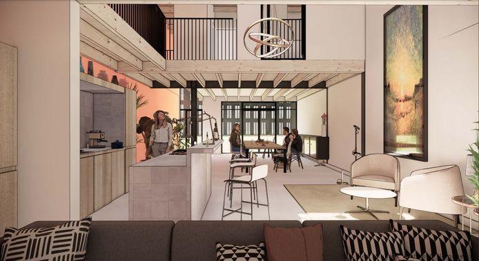 Onder Oude loods omgebouwd tot woning in Nijmegen met vide boven de keuken met kookeiland. Architect Bert Muijres, impressie.