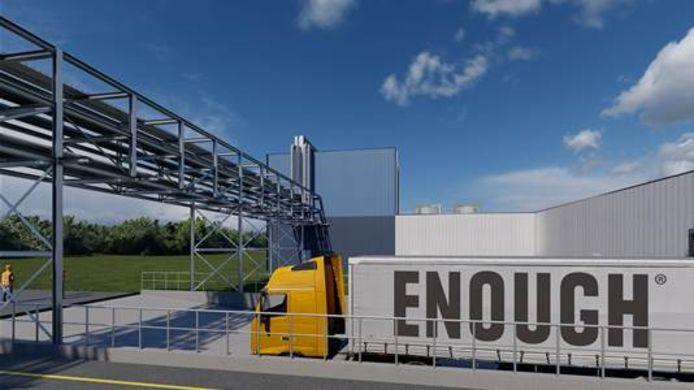 Artist impression van de fabriek voor plantaardig eiwit die Enough bouwt in Sas van Gent.