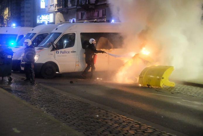Tijdens de rellen in Brussel.