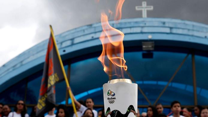 De Olympische vlam in de Braziliaanse staat Bahia.