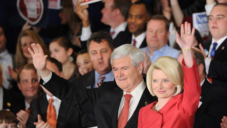 Gingrich en zijn echtgenote in Georgia. Beeld epa
