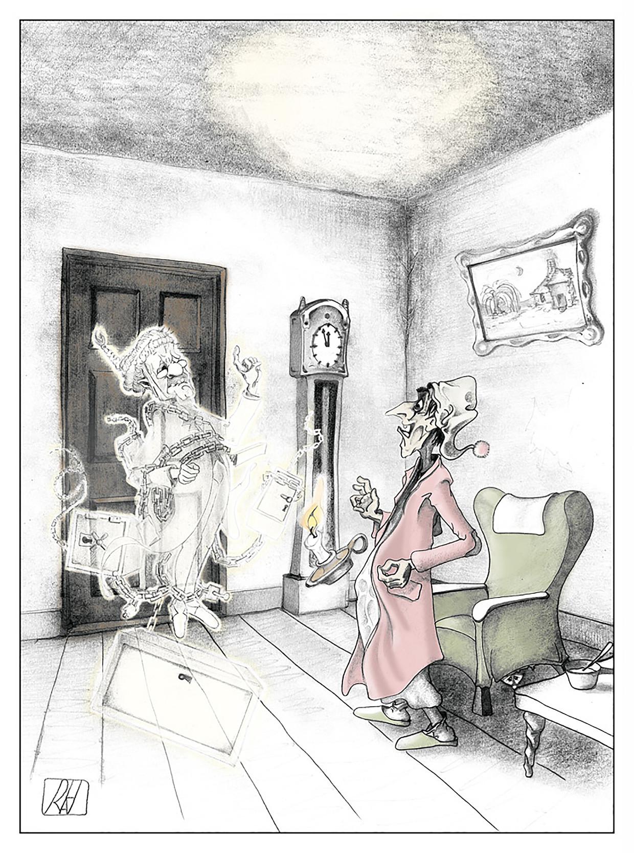 Illustratie uit de heruitgave van Dickens' kerstverhalen, door René Hazebroek. Beeld René Hazebroek