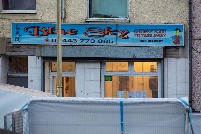 De steekpartij zou hebben plaatsgevonden in het Chinees afhaalrestaurant Blue Sky in het plaatsje Treorchy. Beeld EPA