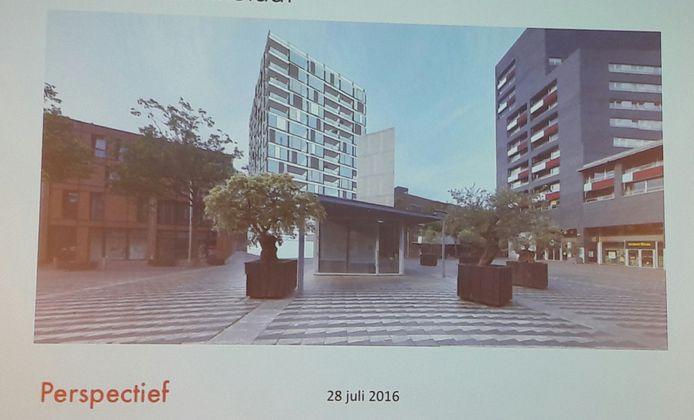 Het eerste concept voor de woontoren, van zomer 2016, met toen nog appartementen van 50 vierkante meter. Hieronder ook vier latere studies