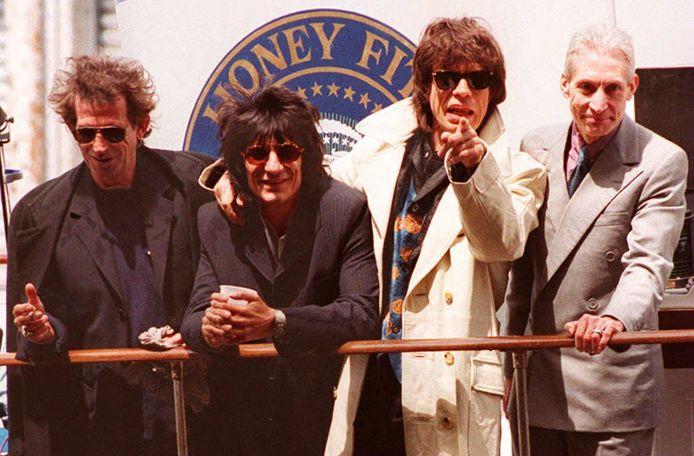 The Rolling Stones in 1994 bij de aftrap van hun 'Voodoo Lounge'-wereldtournee.