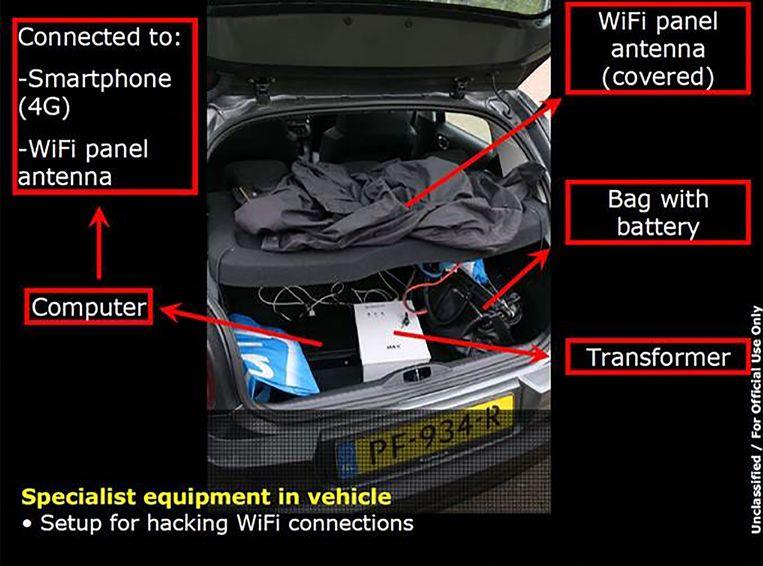 Een door het ministerie van defensie verspreid beeld van de kofferbak van de auto die de vier vermeende Russische spionnen hadden gehuurd.  Beeld AFP