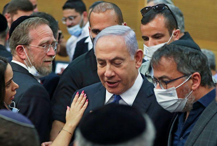 Benjamin Netanyahu in de Knesset, het Israëlische parlement vandaag.  Beeld AFP