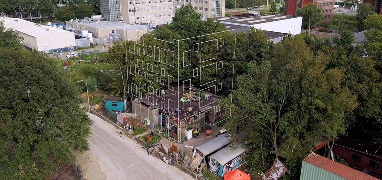 De contouren van Bajesdorp, met horeca, studio's en drie lagen met woningen voor tien personen en ateliers.  Beeld Artist Impression