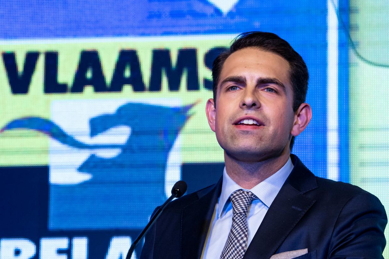 Vlaams Belangvoorzitter Tom Van Grieken. Beeld Photo News
