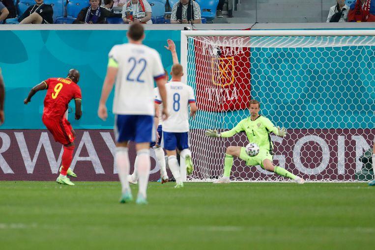 Lukaku scoort het eerste doelpunt. Beeld AP