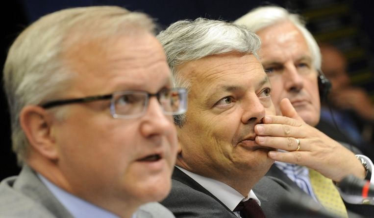 De Ministers van Financiën Olli Rehn, Didier Reynders en Michel Barnier.