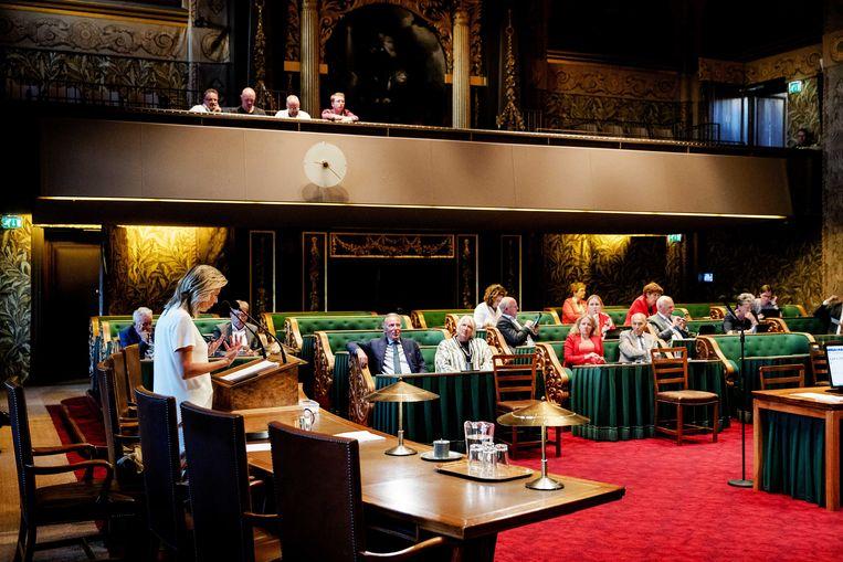 Minister Kajsa Ollongren aan het woord in de Eerste Kamer. Beeld ANP