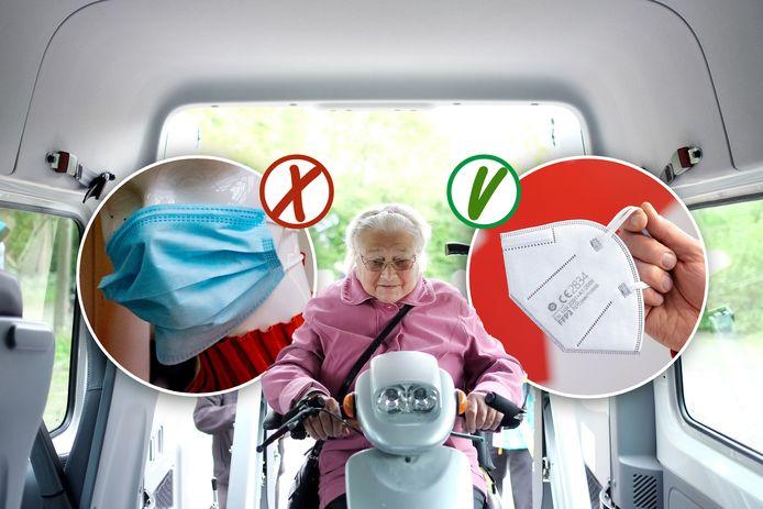 Vrouw rijdt met haar scootmobiel de regiotaxi in. Links een niet-medisch mondkapje, rechts een medisch mondkapje.