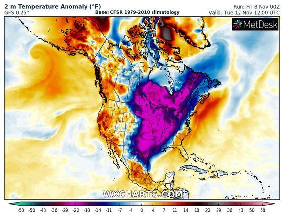 Volgende week liggen de temperaturen in grote delen van Noord-Amerika meer dan 10 graden onder het langjarig gemiddelde.