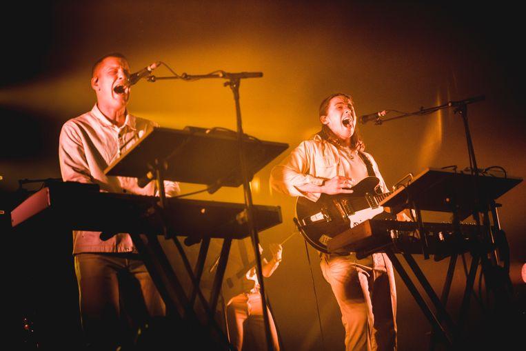 Britten Josh Lloyd-Watson en Tom McFarland van Jungle op Pukkelpop. Beeld Stefaan Temmerman