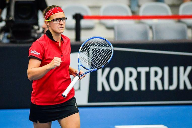 Kirsten Flipkens tijdens haar Fed Cup-wedstrijd in april 2019 tegen Spanje. Beeld BELGA