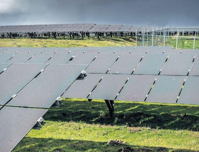 Op het terrein van een oude vuilstort in Azewijn (Gld) worden 35.000 zonnepanelen geplaatst. Beeld Koen Verheijden