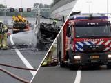 Camper in vlammen tijdens rijden op A12: volledig uitgebrand