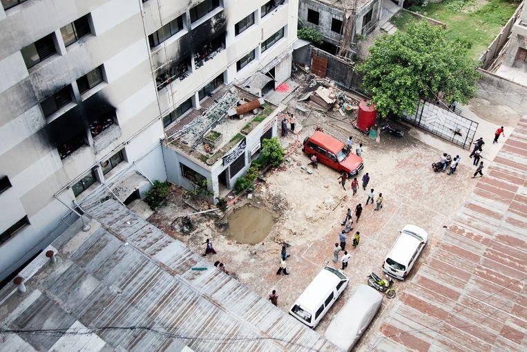 Brandschade aan de Tung Hai Fabriek in Dhaka Beeld null