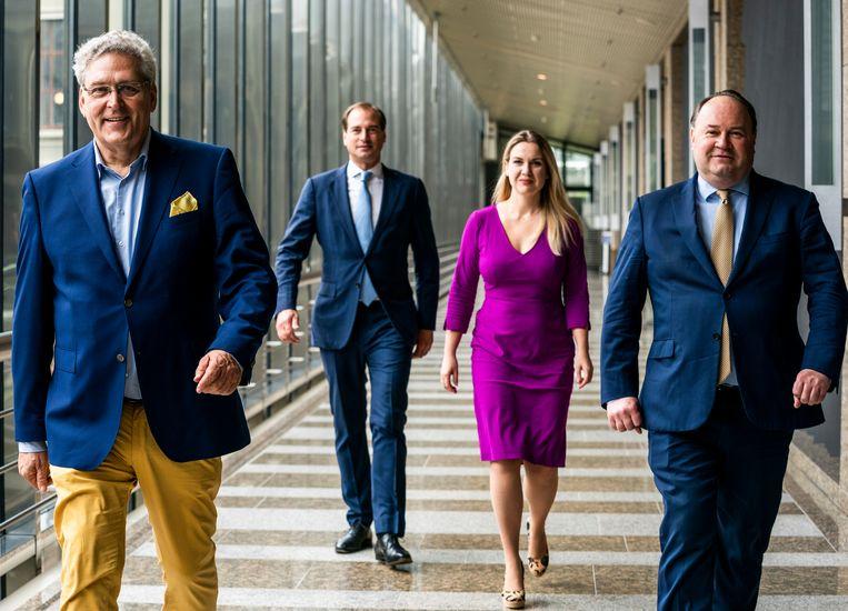 Henk Krol, Jeroen de Vries, Femke Merel van Kooten-Arissenen en Henk Otten vormden tot het afscheid van van Kooten de Partij voor de Toekomst. Beeld Freek van den Bergh / de Volkskrant