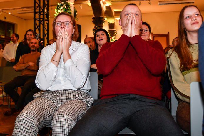Mama Nancy en papa Luc konden de zenuwen amper de baas bij de bekendmaking.