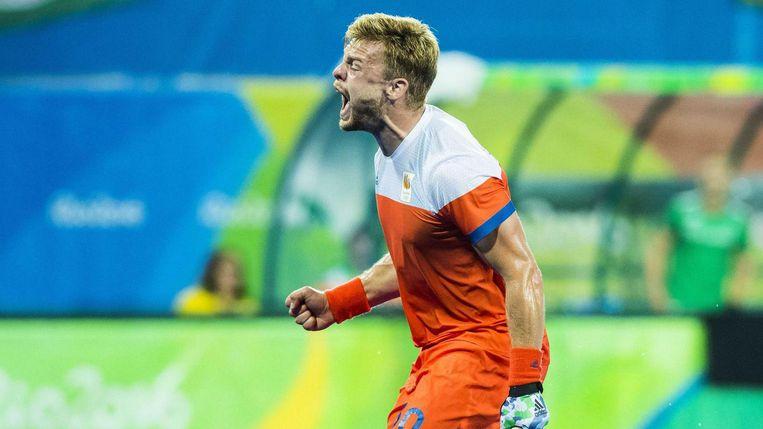 Mink Van der Weerden na de 1-0 uit een strafcorner. Beeld anp