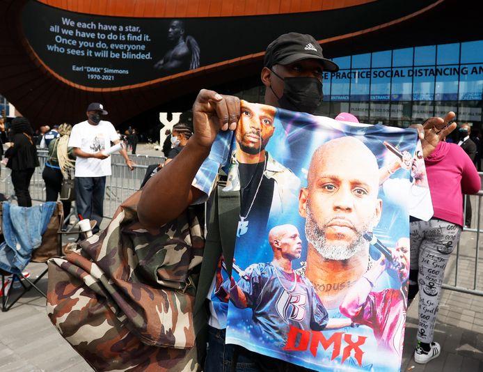 'Celebration of Life Memorial' voor rapper DMX aan het Barclays Center in New York.