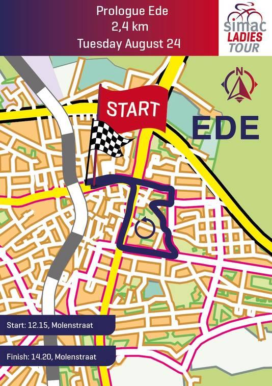 De route van de proloog in Ede, De eerste rit van de Simac Ladies Tour, die begint en eindigt in de Molenstraat, is 2,4 kilometer lang.