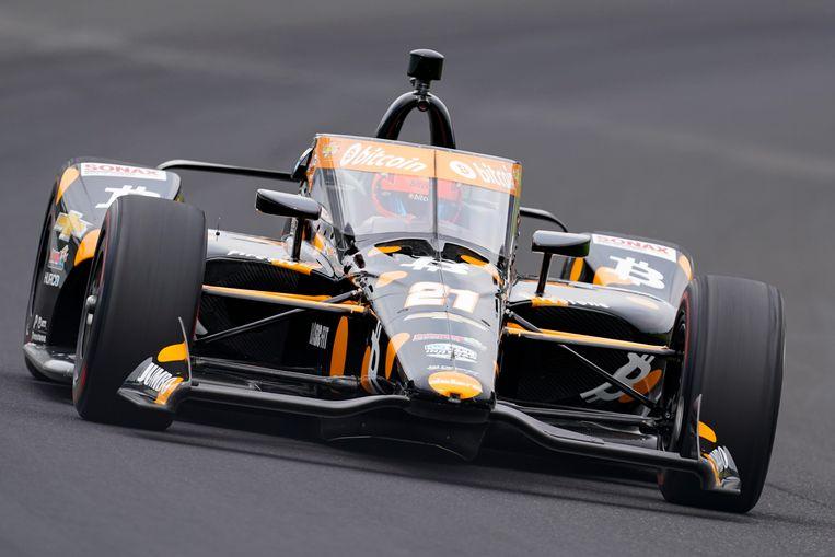 Rinus van Kalmthout onderweg op de Motor Speedway in Indianapolis. Beeld AP