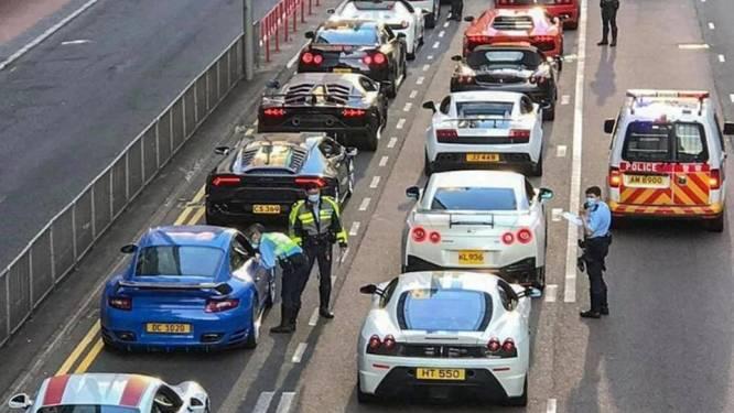 Politie in Hong Kong zet veertig supersportwagens tegelijk aan de kant