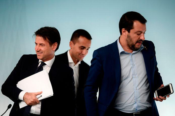 Le Premier ministre Giuseppe Conte et les vice-Premiers Luigi Di Maio (M5S) et Matteo Salvini (Ligue) : la coalition vole en éclats en Italie