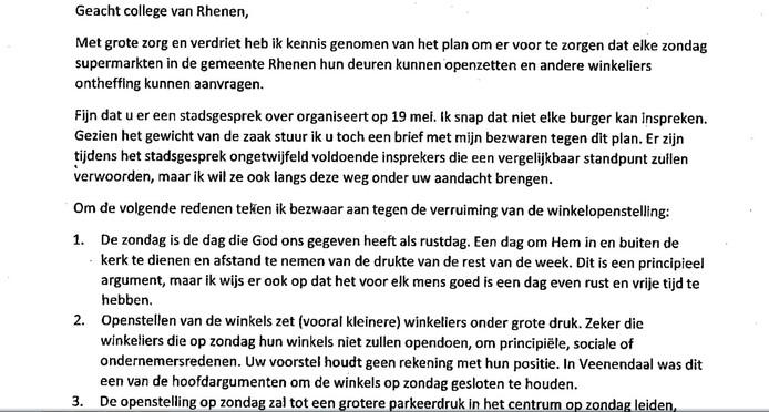 De standaardbrief tegen meer koopzondagen in Rhenen.