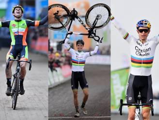 De drie Belgische titels van Van Aert op een rij: een bordje 'actief koersen', twee minuten spanning en een zandduel met Sweeck