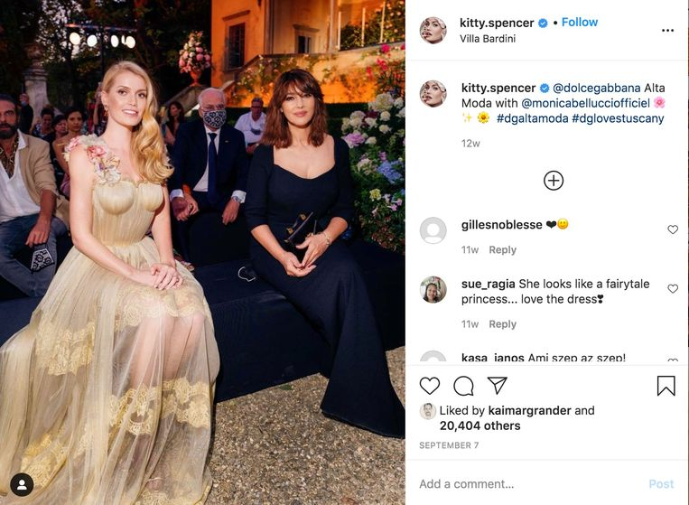 Lady Kitty Spencer (links). Beeld Instagram