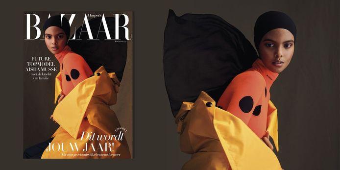 Aisha Musse op de cover van Harper's Bazaar van maart.
