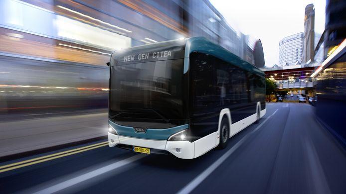 Een bus van de nieuwe generatie elektrische VDL Citea die wordt geproduceerd in Valkenswaard en Roeselare.