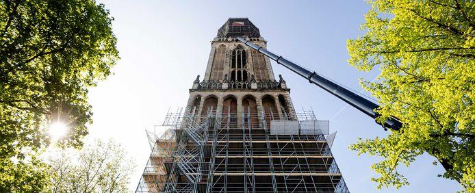 De Domtoren, ruim een jaar geleden. Binnenkort kunnen Utrechters stukjes van de historische toren kopen om hun interieur te verrijken.