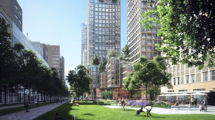 Grootse ontwikkeling bij de entree van station Hollands Spoor aan de Laakzijde. Niet alleen hoogbouw, maar ook een groene stadsstraat.
