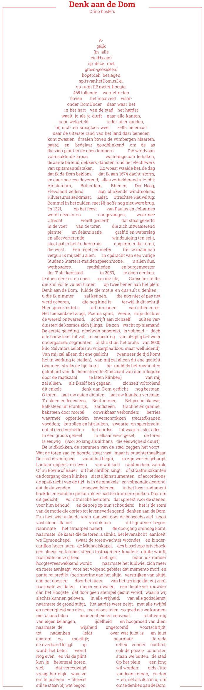 Gedicht 'Denk aan de Dom' van Onno Kosters.