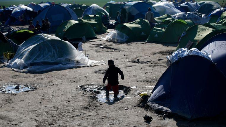 Het vluchtelingenkamp in Idomeni, Griekenland. Beeld AP