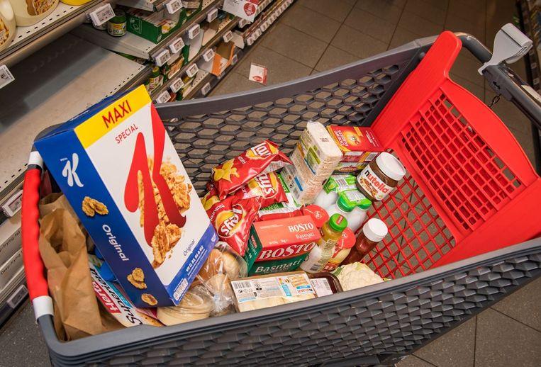 Onze winkelkar met dezelfde dertig doordeweekse voedingsproducten Beeld Joel Hoylaerts