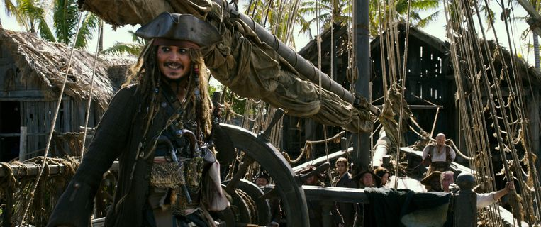 Johnny Depp in 'Pirates of the Carribbean: Dead Men Tell No Tales'. Beeld rv