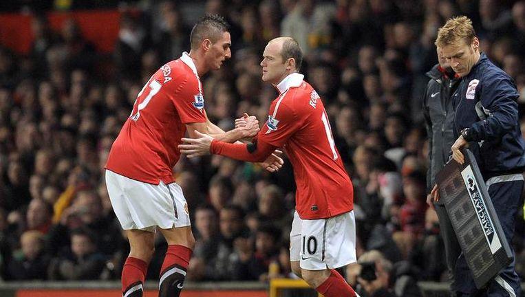 Rooney mocht in de 56ste minuut Macheda vervangen. Beeld AFP