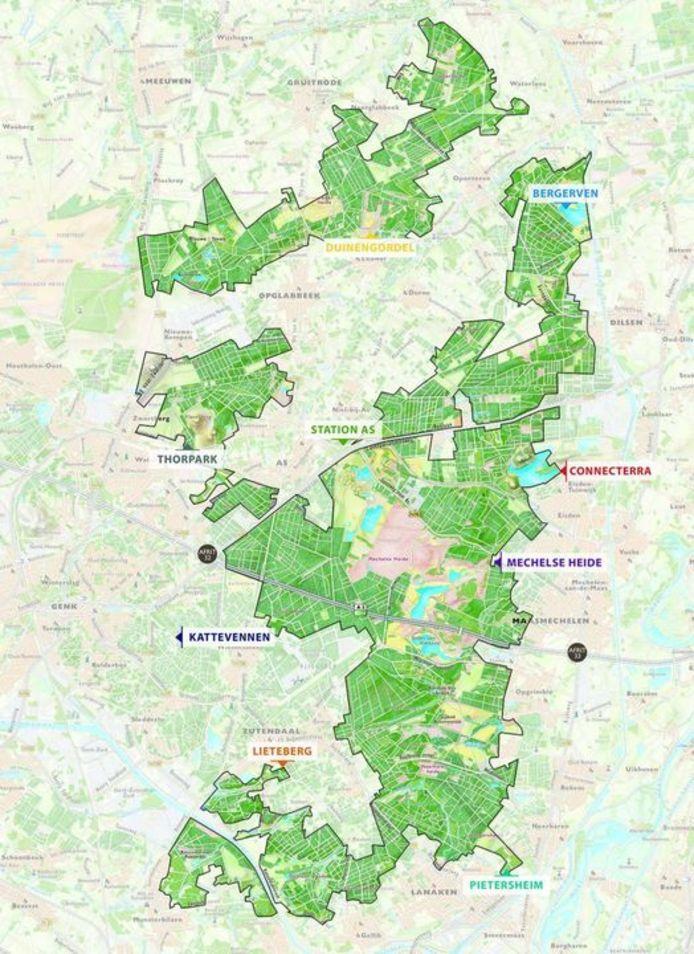 Kaart Nationaal Park Hoge Kempen