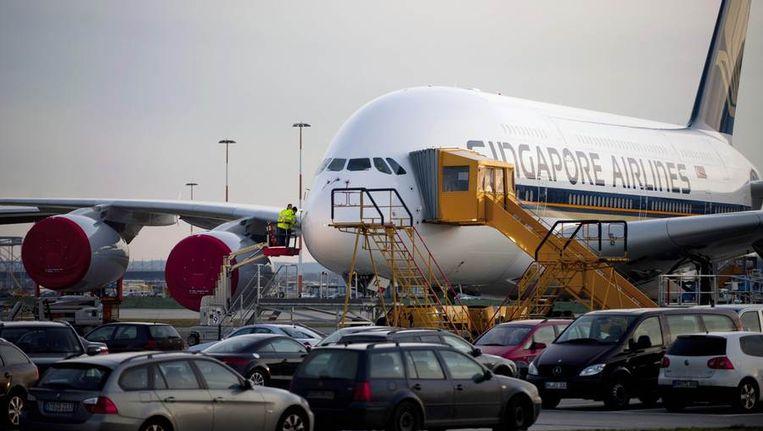 Een A380 op het vliegveld van Frankfurt. Beeld reuters