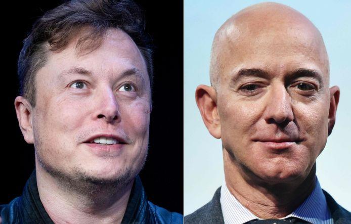 Niet Elon Musk (links) maar Jeff Bezos is weer de rijkste ter wereld.