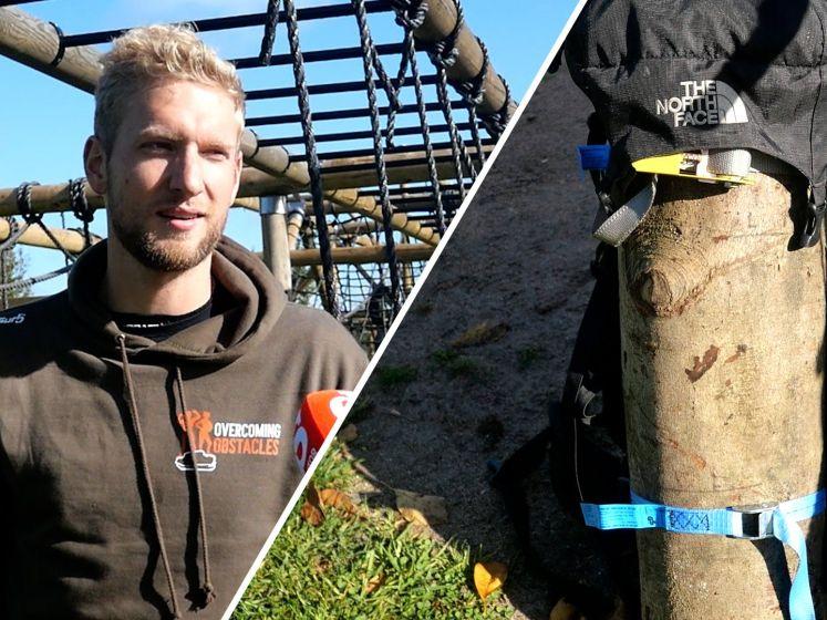 Video van de Dag | De 'treeatlon' van Jeroen uit Zwolle: fietsen, zwemmen en lopen mét boomstam